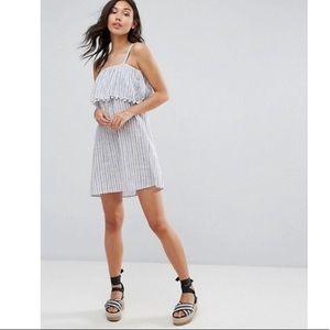 ASOS Boohoo white blue stripe Pom trim dress